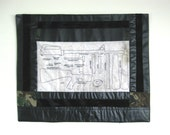 Stars and Stripes Quilted Wall Hanging by Flea Puckett Featuring Machine Gun Marine Soldier from United States USA Political Wall Hanging
