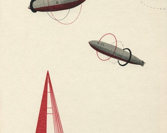 Zeppelin I - Print - featuring Red Triangle Tower and Rings Floating in the Sky. Fantasy, Travel and Adventure Printed Edition