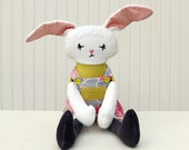 Easter Bunny Rag Doll Plush Coral Yellow Gray Ready to Ship