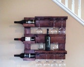 Wine rack, rustic wine rack, mahogany wine rack, reclaimed wood, wall wine rack, wine glass holder, wall mounted rack, bar storage, wine bar