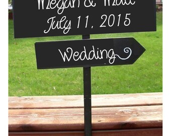 directional sign, wedding sign, reception decor, wood wedding sign, custom wedding sign, wedding arrow, beach wedding sign