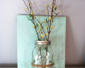 Mason jar wall decor, wall sconce, jar candle holder, distressed aqua, farmhouse decor, vase for wall, Mother's Day gift, housewarming