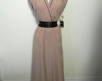 Vintage Dress Khaki Wrap Dress dead stock M L - on sale