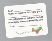 Airplane Fill in the Blanks Thank You Notes - Great for Babies, Toddlers and Little Boys