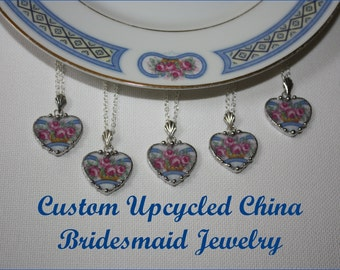 Custom Bridesmaid Jewelry - 5 Broken China Heart Pendant Necklaces