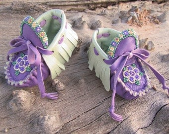 Baby Moccasins By Desi, Flower Garden, Beaded, Purple & Green Lambskin Leather, 3-6 Months, Ceremonial, Newborn Infant Moccs, Hippie, Boho