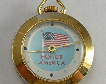 Vintage Honor America Watch Pendant Necklace Patriotic Wind-Up -Works