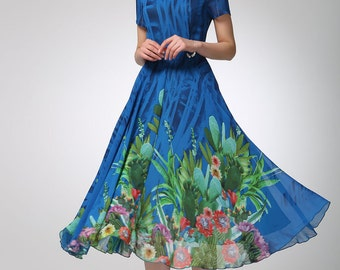 floral dress, blue dress, chiffon dress, prom dress, womens dresses, long dress, summer dress, handmade dress, fit and flare dress (1247)