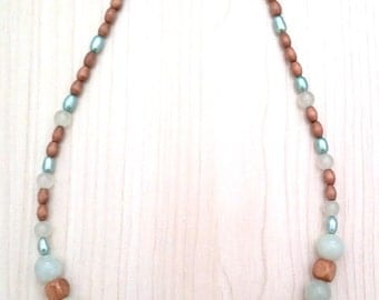New Sale...Beautiful Aquamarine Matrix Jasper, Pearl, Jade, Wood necklace by GlamRox. Perfect Jewelry Gift. Gift for her. ETSY Gift