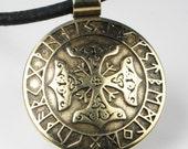 Celtic Viking Cross Rune Calendar Bronze Pendant or Key Ring - Celtic Cross Viking Rune Calendar Border - Keyring - Necklace - Pendant