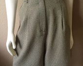 Vintage Women's 80's High Waisted, Shorts, Tan, Black by Brindar (L)