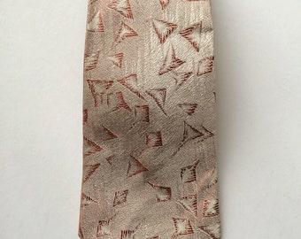 Vintage Neckties Men's 50's Orange, White, Geometric, Printed, Tie