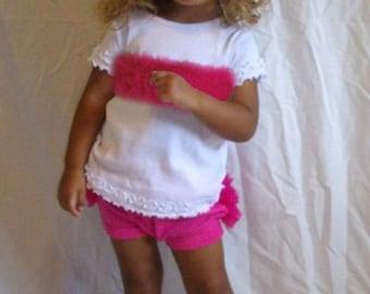 Hot Pink Chiffon Ruffle Bloomers and Tee Set Ruffled Pants Ruffled T-shirt 6M 12M 18M 24M In Stock for immediate shipment