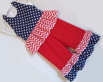 Red White and Blue Polka Dot and Chevrons Ruffled Pant Set. 4th of July Baby Infant Toddler Girl's 3-6M 6-12M 12-18M 18-24M 2T 3T 4T 5 6 7 8
