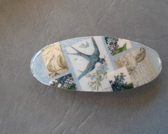 Blue Swallow tail  Bird Collage Barrette
