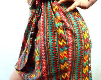 Vintage 80s Contempo Casuals Geometric Southwest Aztec Wrap Mini Skirt