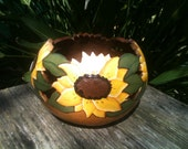 Hand Painted Gourd Sunflower Bowl Planter  Large Thick