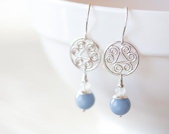 Pastel Blue Angelite Earrings, sterling silver dangle earrings, Light blue earrings, hand fabricated Celtic spiral medallion, gemstone drop
