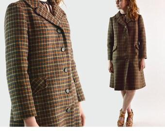 Womens Wool Coat / Vintage 60s Plaid Wool Coat / 1960s Mod Coat / Belted Back Wool Dress Coat  S / M