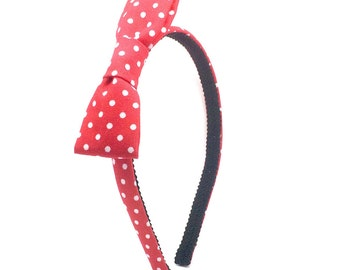Red Polka Dot Bow Headband - Little Girl Headband, Toddler Headband, Big Girl Headband, Adult Headband - Hard headband with Bow - Bright Red
