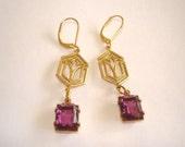"""Amethyst  Glass Stone Earrings 1.5"""""""