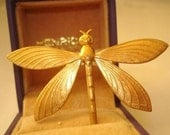 Dragonfly Vintage Jewelry Amimal Brooch Gold Tone