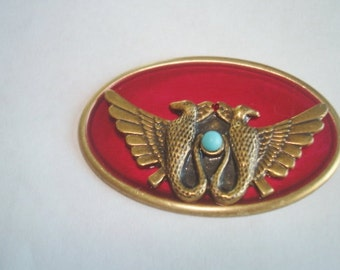 Egyptian Revival  Horus Birds   Red Brooch Turquoise Stone