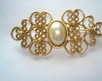 Pearl Filigree  Gold Tone Brooch