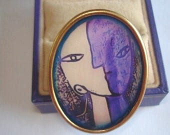 Vintage Jewelry Abstract Lovers Brooch KL Design