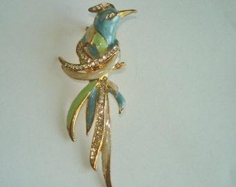 Rhinestone Bird  Multi Color Brooch Gold Tone