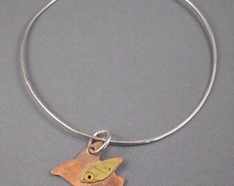 Copper Bird Charm on Sterling Silver Bangle Bracelet