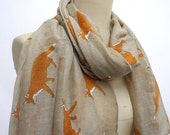 Fox scarf  Fox Infinity Scarf Animal Printed Scarf Circle scarf, Scarves, Christmas Gift Ideas For Her Women
