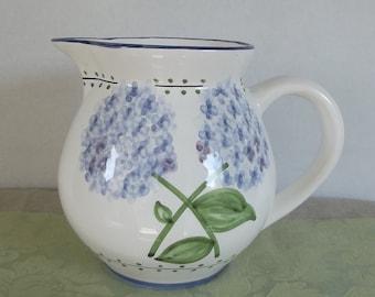 Large White With Blue Hydrangeas Beverage Pitcher. Cornflower Blue Conimbricer Casafina Made in Portugal Water Pitcher