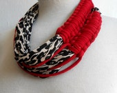 Zebra print necklace,spaghetti zebra necklace,red zebra neckpiece,fashion zebra,high fashion zebra necklace