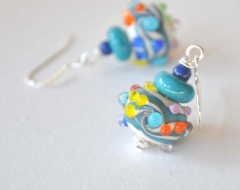 Colorful Earrings, Lampwork Glass Earrings, Color Wave Earrings, Bumpy Earrings
