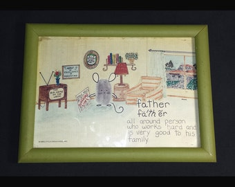 Vintage Fathers Day Card in Frame / 1980 Fathers Day Little Creatures Framed Card