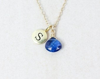 Cobalt Blue Kyanite Necklace - Monogram Letter Charm - Gold or Silver