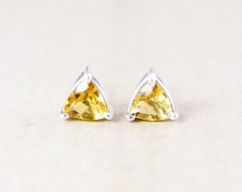 Citrine Quartz Studs - Triangle Cut - Silver Filled