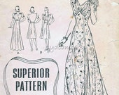 Vintage 1940s Dress Pattern Wrap V Back Evening Gown or Daydress Empire Waist 1942 Superior 9774 Bust 32
