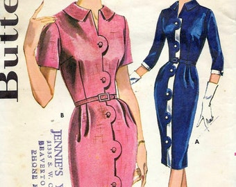 Vintage 1960s Pattern Scalloped Button Front Sheath Dress Slim Skirt Sleeve Variations 1960 Butterick 9831 Bust 35