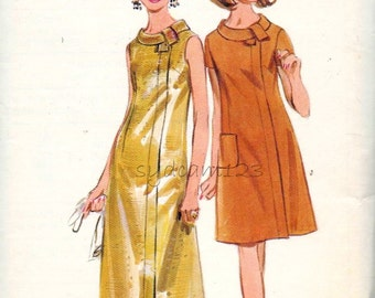 Vintage 1960s Dress Pattern Cocktail or Evening Dress Maxi or Day Dress Rolled Tie Collar 60s Butterick 4641 Bust 44 UNCUT