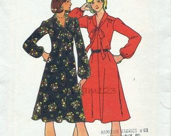 Vintage 1970s Pattern Tie Bias Collar Flared Dress Long Sleeves 1976 Butterick 4030 Bust 34 UNCUT
