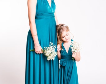 Mommy and me matching infinity dresses, flower girl and bridesmaid, pack of two dresses, mother daughter infinity dresses, choose size color