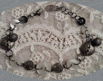 Dark Silver Loops, Buttons In Pearl & Silver Bracelet - FREE SHIPPING