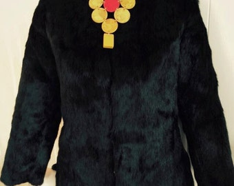 Sale Gorgeous Vintage Mandarin Asian Jacket Reversible to Midnight Black Fur -- Size M