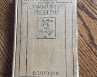 """Shop Projects Based on Community Problems"""" Antique TEXTBOOK from 1910 hardcover book projects, drawing, illustrations, photographs"""