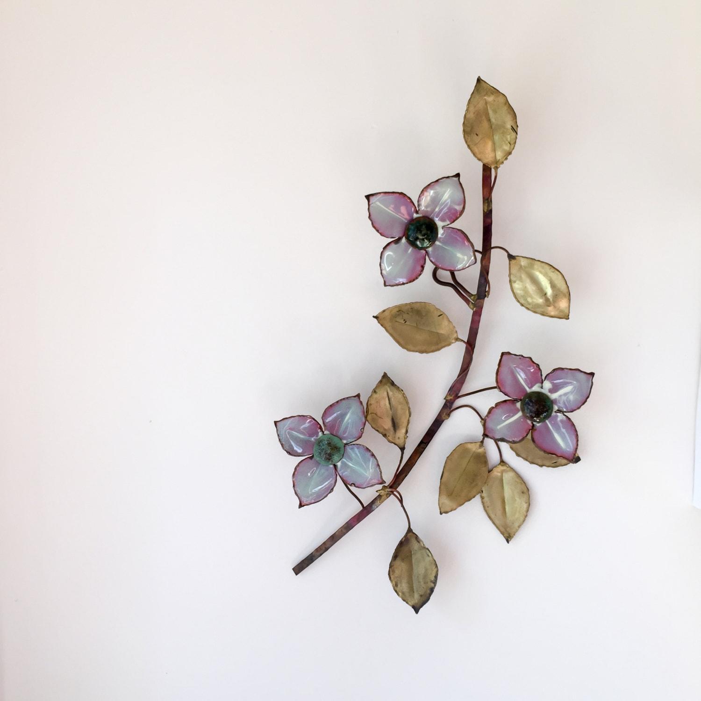 Dogwood flower metal wall sculpture vintage rustic handmade for Metal flower wall art