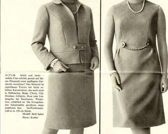 1960s Ladies Dress and Jacket Ensemble Pattern B38 Orella M571/48
