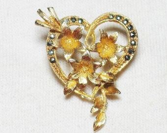 Vintage Marcasite Floral Gold Tone Heart Brooch Pin (B-3-2)