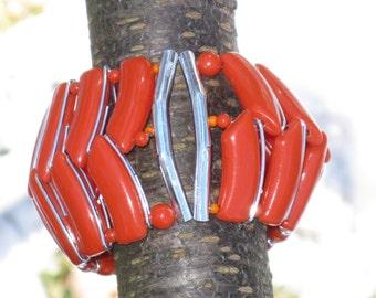 Vintage West Germany Wide Orange Coiled Bracelet (BR-1-5)